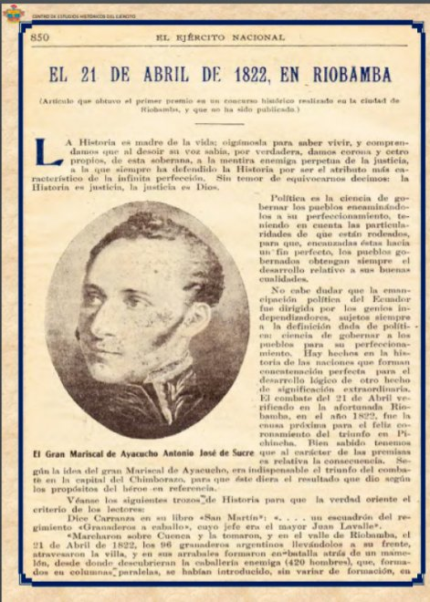21 de abril de 1822 Independencia de Riobamba