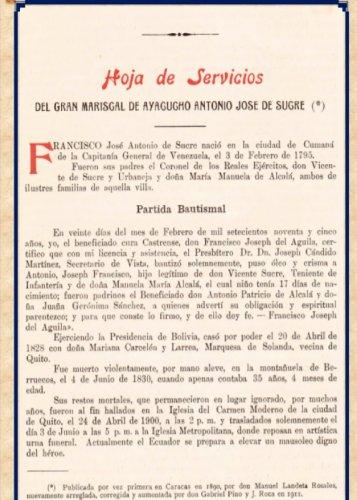 Hoja de Servicios del Gran Mariscal de Ayacucho Antonio José de Sucre