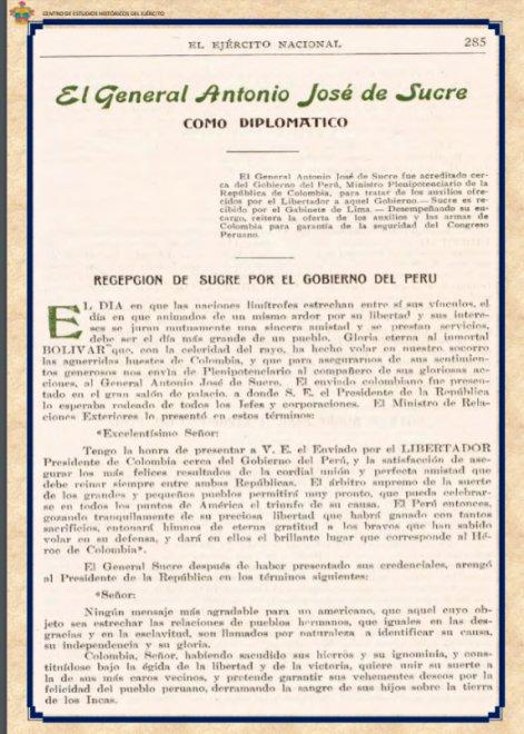 El General Antonio José de Sucre como Diplomático y Magistrado